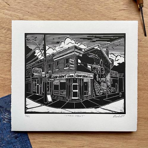 Chew chew's diner Linocut Print