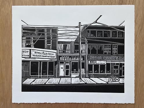 The Barn Restaurant Linocut Print