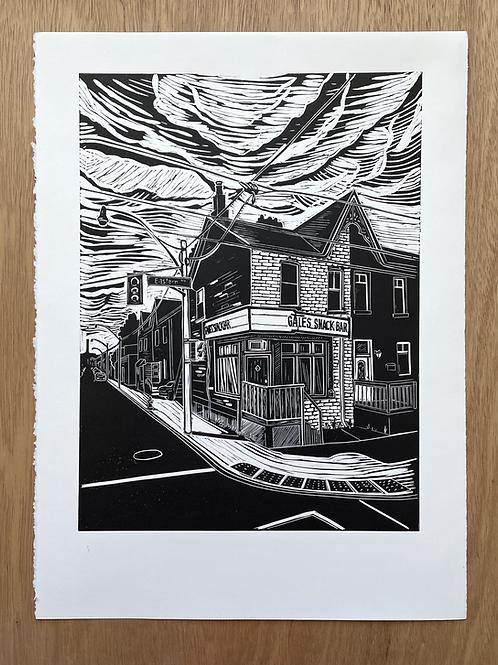 Gales Snack Bar Linocut Print