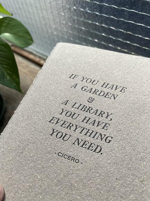 Garden & Library Letterpress Notebook