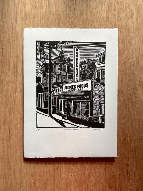 People's Food Linocut Print