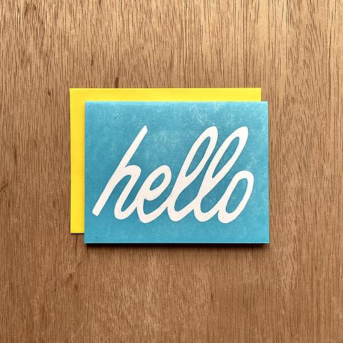 Hello Linocut letterpress card
