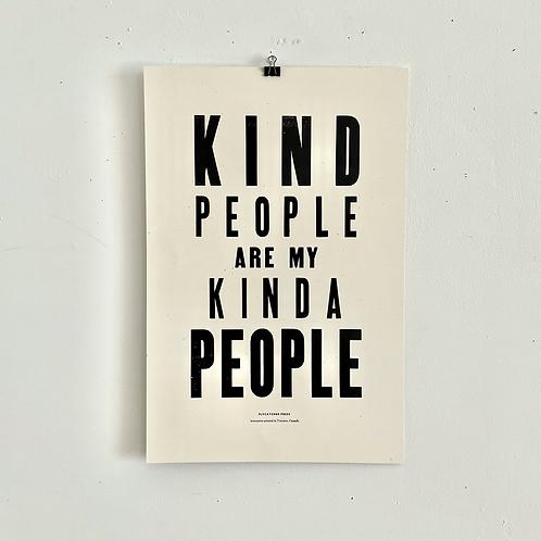 Kind People Letterpress Poster