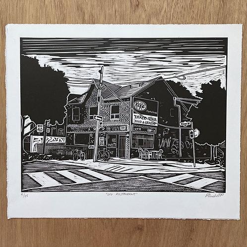 UFO restaurant Linocut Print