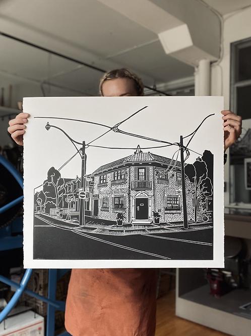 Monarch Tavern XL Linocut Print