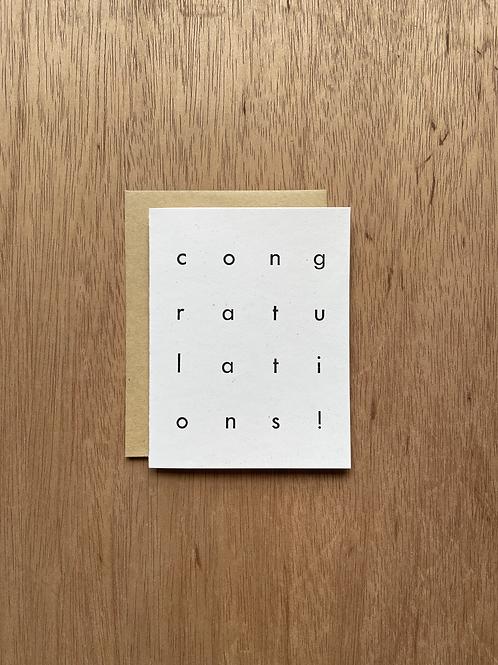 Congratulations! Letterpress card