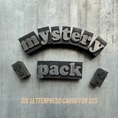 Mystery Pack of 6 Letterpress cards