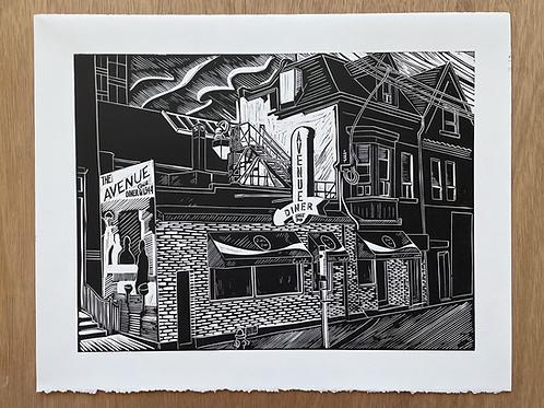 Avenue Diner Linocut Print