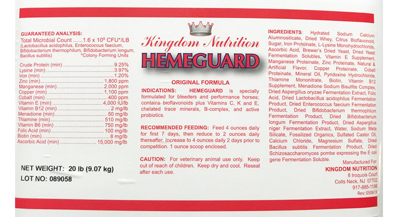 Bleeders Special - One 5 .lb bucket of Hemeguard and One tub of Equi-No Bleed