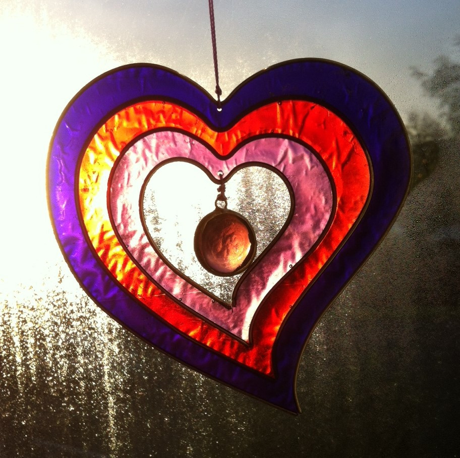 Stained glass heart window