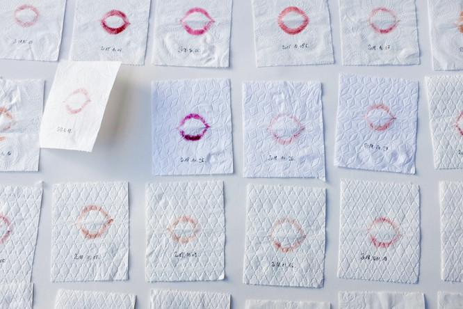 Kiss My Ass!, 2018 - 2020, toilet paper, lipstick, date
