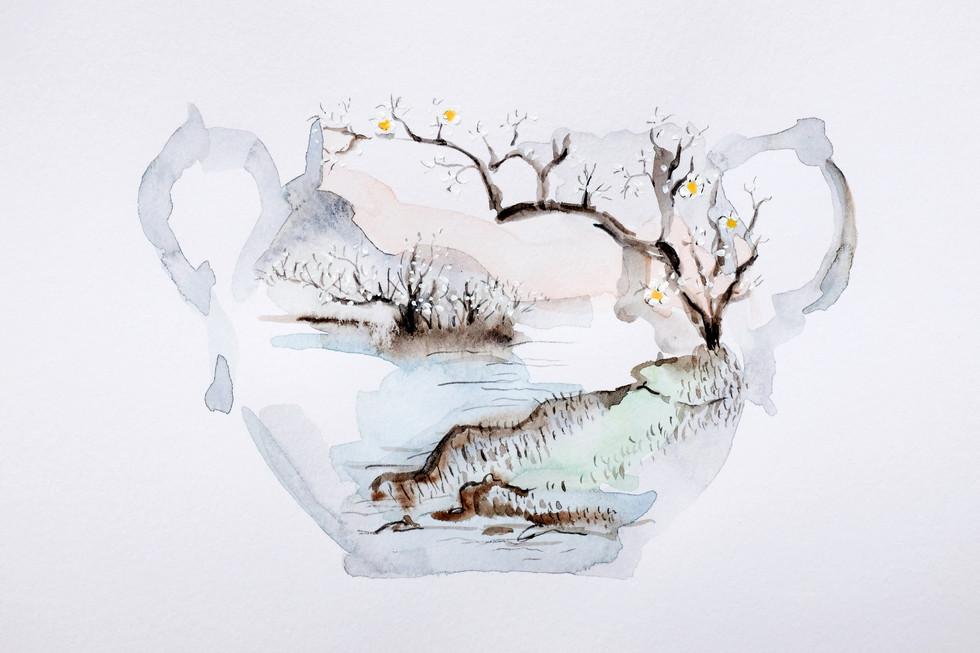 Bone China, 2018, watercolour on paper, 15 x 21 cm