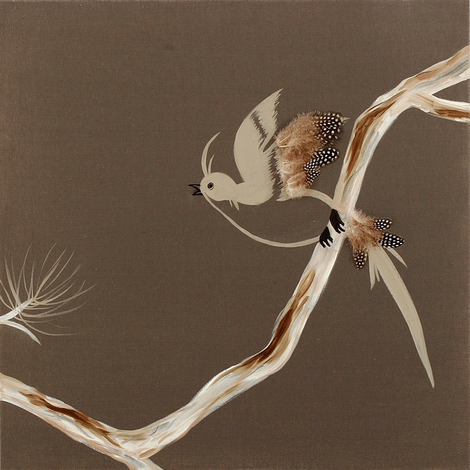 Bird, 2009, oil on canvas, application, 70 x 70 cm