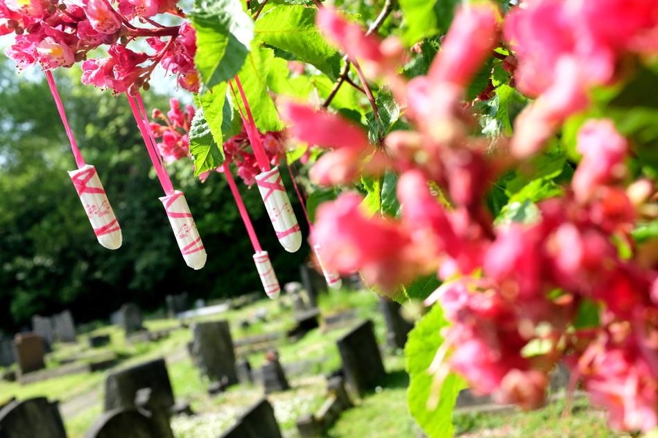 Corolla, 2016, tampon installation, Camberwell New Cemetery