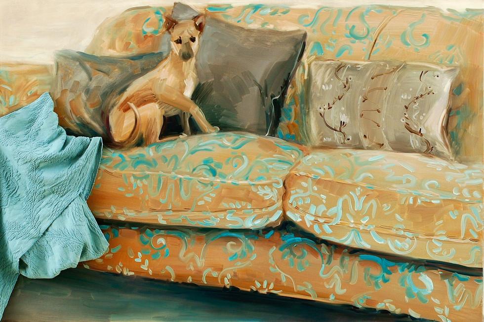 Greyhound, 2009, oil on canvas, application, 100 x 150 cm