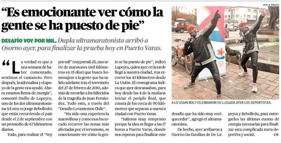 Austral Osorno Noticia Llegada a Osorno