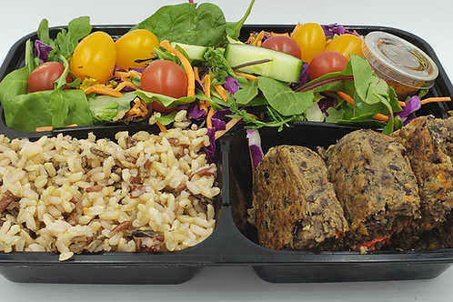 21 Black Bean Patty with Rice and Super Salad