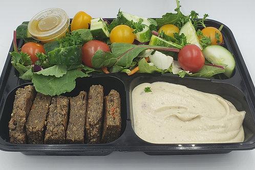 09 Mushroom Quinoa Burger Patty w/Baba Ghannoj &Big Salad