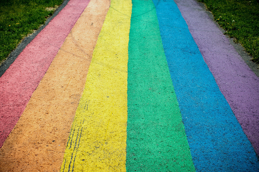 Vertical painted rainbow stripes on a sidewalk lined by grass.