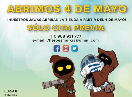 Apertura el lunes 4 de mayo sólo con cita previa (Fase 0)