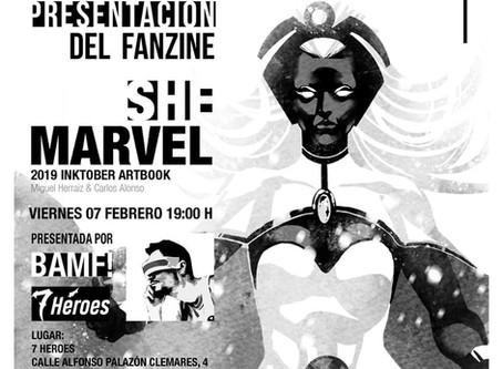 Presentación del artbook She-Marvel de Miguel Herraiz y Carlos Alonso, con Bamf! Cómics Freak