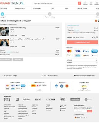 UX & UI - Sugartrends Shopping cart