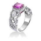 パープルサファイア&リリーカットダイヤモンドリング
