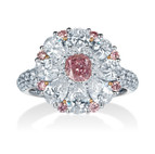 クッションカット ピンクダイヤモンドリング