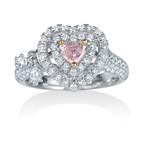 ハートカット ピンクダイヤモンドリング