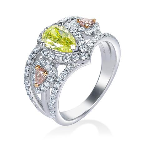 ペアシェイプカット イエローダイヤモンドリング