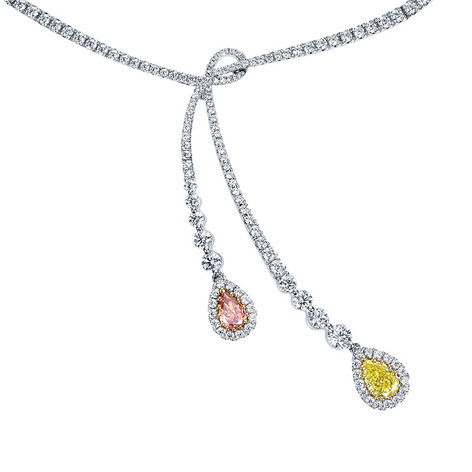 ピンク&イエローダイヤモンドネックレス