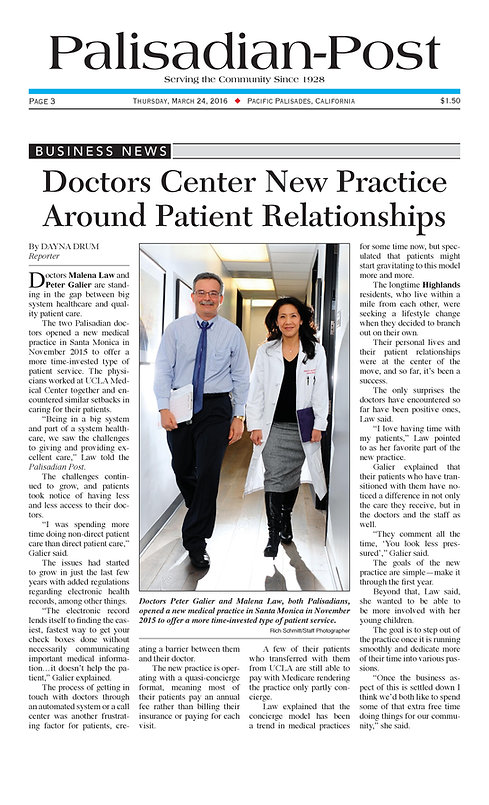 Dr Malena Law, Dr Peter Galier, Premier Health Partners of Santa Monica, Palisadian Post, concierge medicine, healthcare, Santa Monica