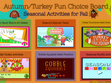 Turkey Fun Choice Boards🦃