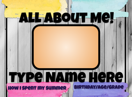 Back to School All-About-Me Project