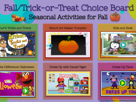 Fall Fun/Trick-or-Treat Choice Board🎃🍬🍫🍭
