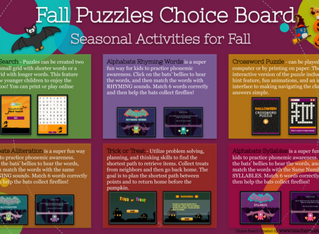 Fall 🦇 Puzzles Choice Board