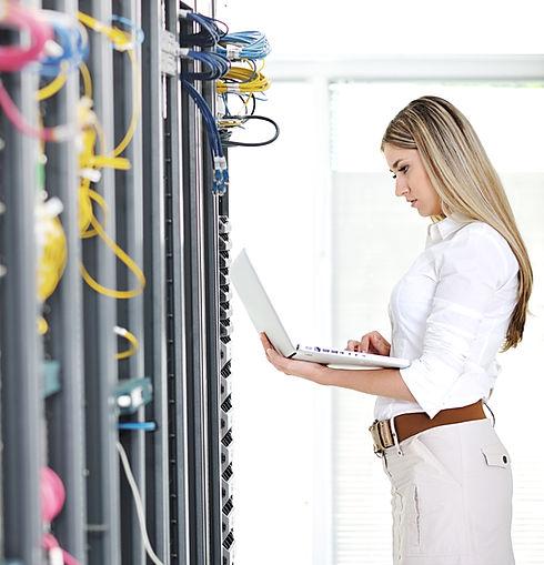Women looking at Uninterruptable Power Supplies
