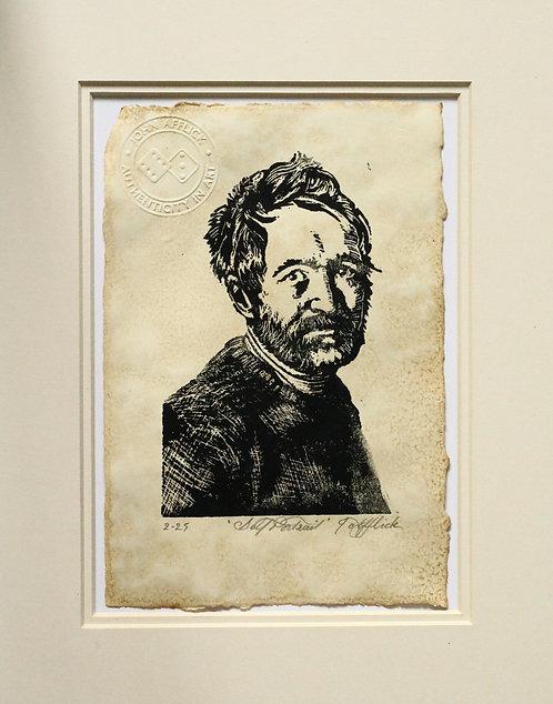 'Self Portrait 1' linocut