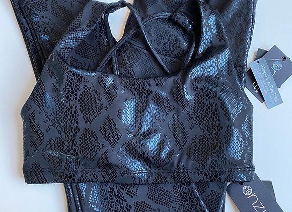 Black High Waisted Snake Print Foil Leggings with matching Bra
