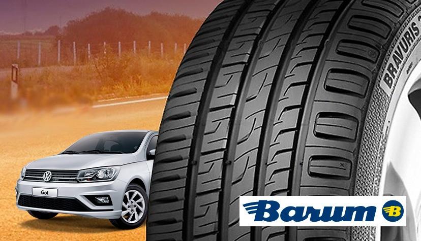 Carro em uma estrada de chão e anúncio do pneu Barum, da Continental - Achei Pneus