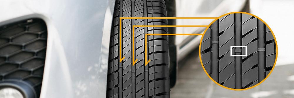 Índice Treadwear (TWI) no pneu do carro.