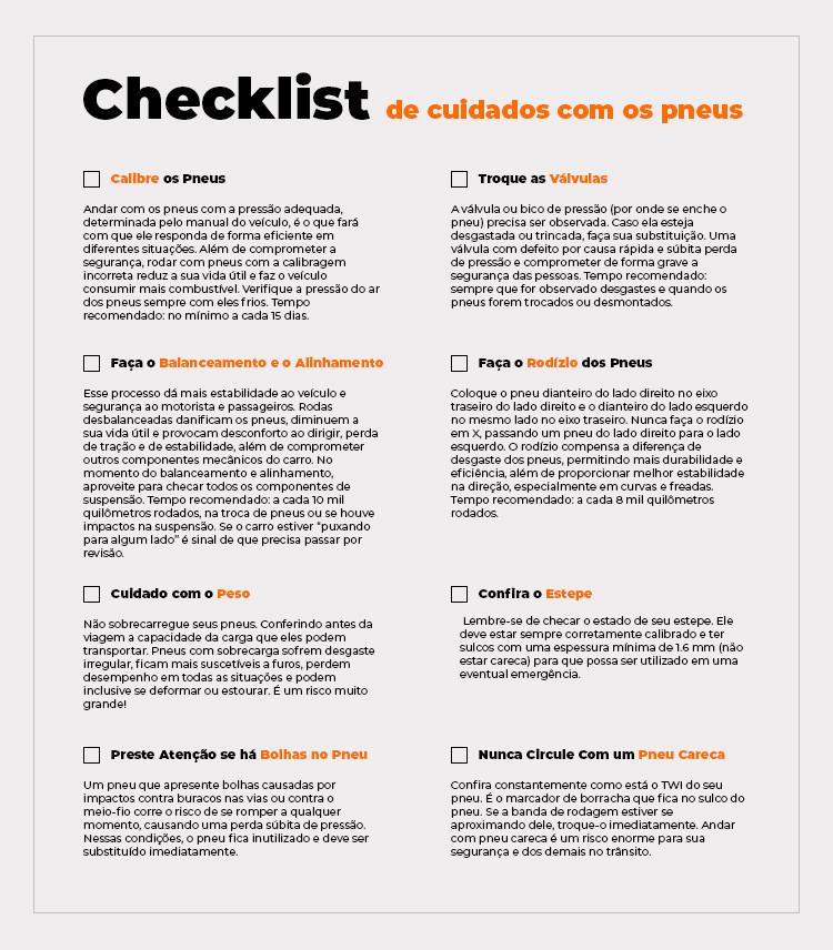 cuidados pneus checklist