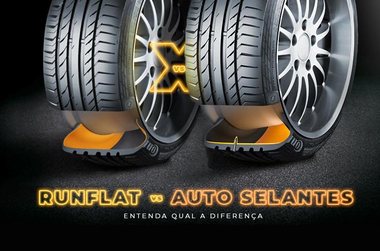 Imagem de pneu run flat e de pneu ContiSeal