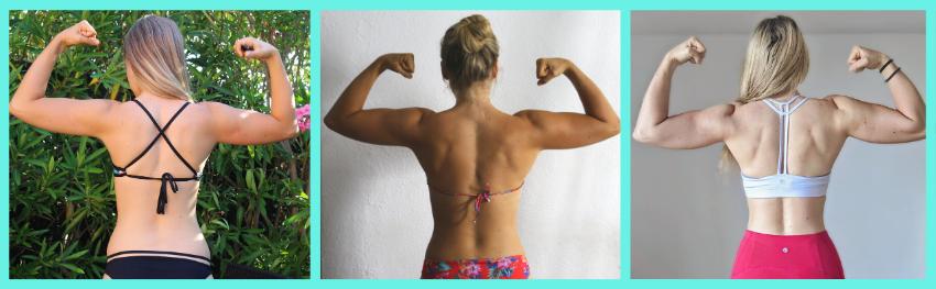 Evolution physique en musculation pour femme dos