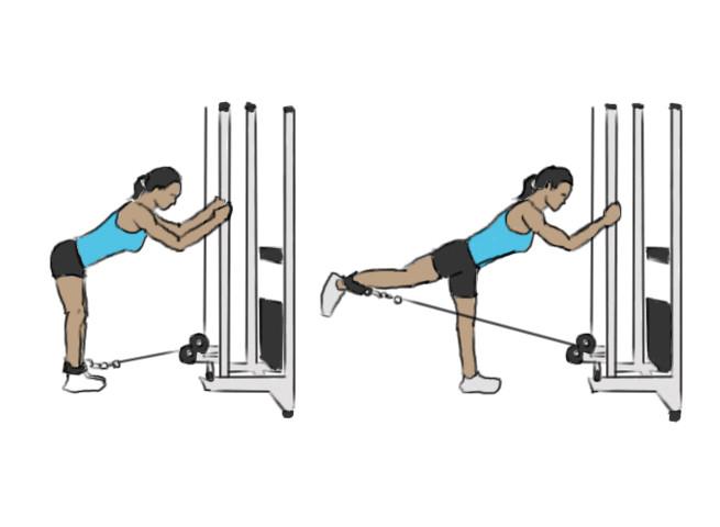 exercice isolation fessier extension hanche unilatérale