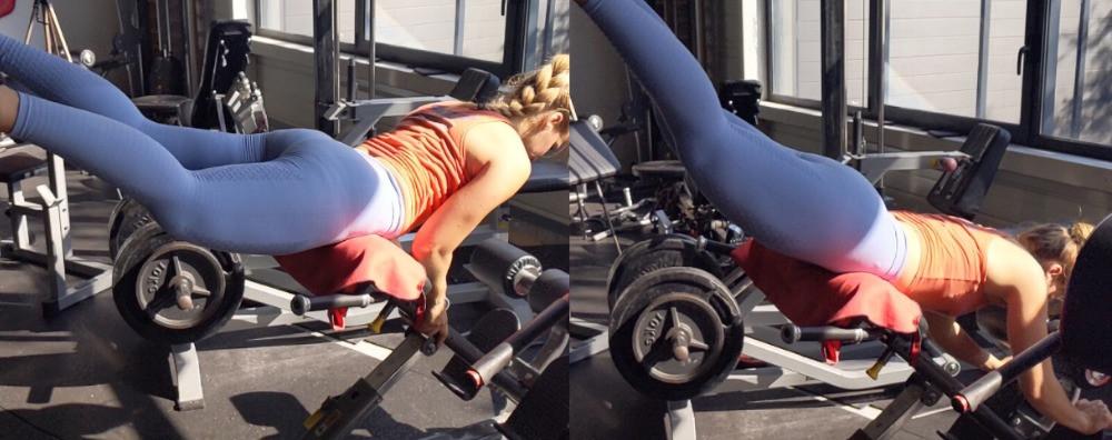 Alternative sur banc à lombaire à 45 degrès d'hyper-extension inversée en musculation pour femme