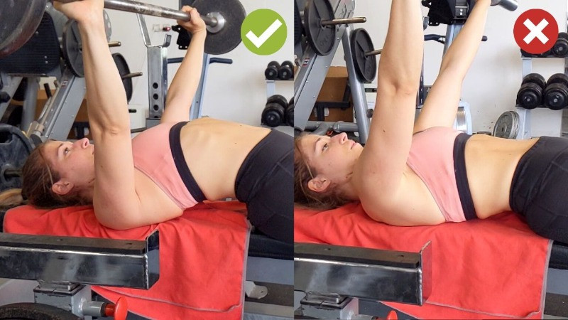 Bonne technique au développé couché musculation femme