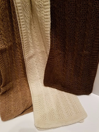 Cable and Lace Scarf - natural colors