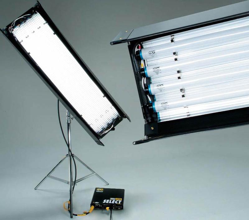 Система света Kinoflo 4х4 на циклораме.