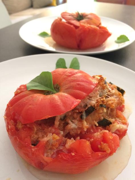 Tomates farcies façon bohémienne et ses croquants